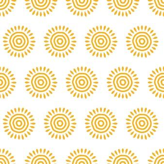 Fondo senza cuciture del modello del sole sveglio, modello senza cuciture disegnato a mano