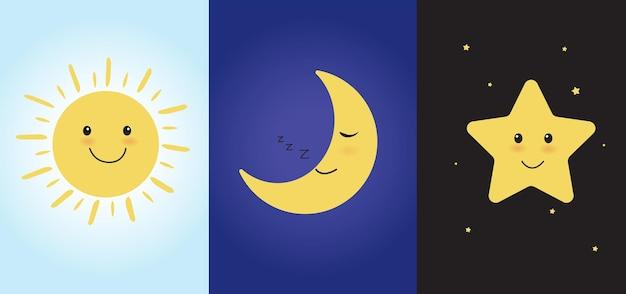 Simpatici personaggi dei cartoni animati sorridenti con sole e stelle luna che dorme