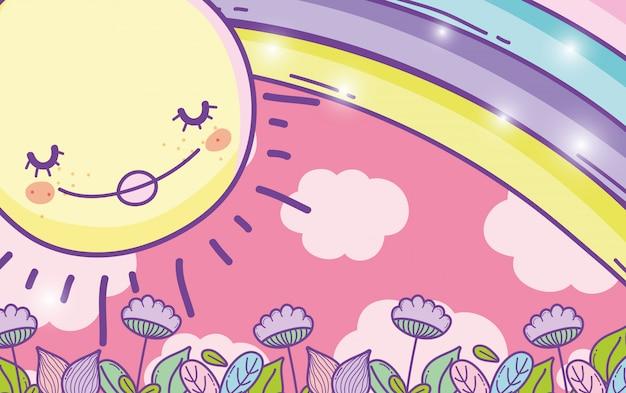 Sole carino con arcobaleno e foglie di fiori