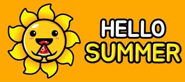 Carino sole con banner di auguri estivi Vettore Premium