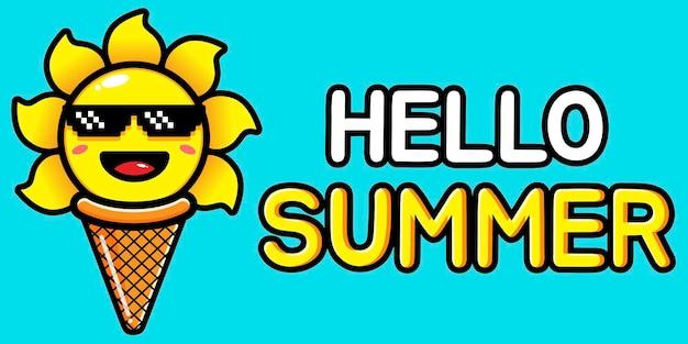 Carino sole con banner di auguri estivi