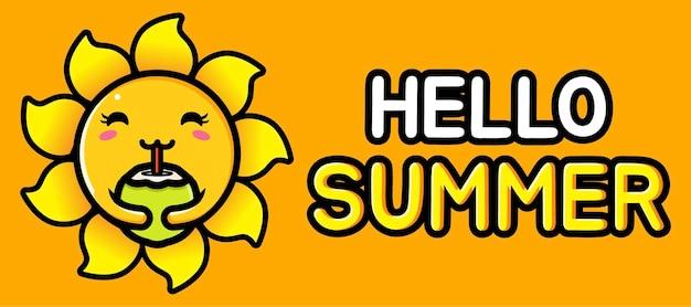 Simpatico sole con banner di auguri estivi