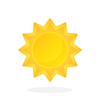 Sole carino con raggi triangolari isolati su sfondo bianco illustrazione vettoriale
