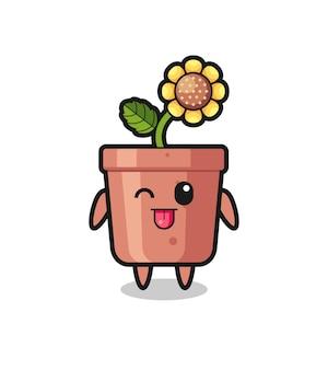 Simpatico personaggio di vaso di girasole in dolce espressione mentre tira fuori la lingua, design in stile carino per t-shirt, adesivo, elemento logo