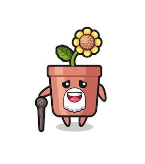 Il simpatico nonno in vaso di girasole tiene in mano un bastone, un design in stile carino per maglietta, adesivo, elemento logo