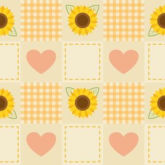 Simpatico motivo senza cuciture di girasoli e cuori su sfondo giallo chiaro