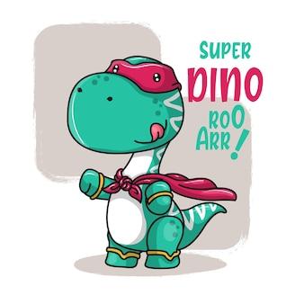Simpatico cartone animato super dinosauro. illustrazione di disegno a mano
