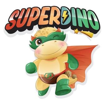Carino super dinosauro con illustrazione ad acquerello