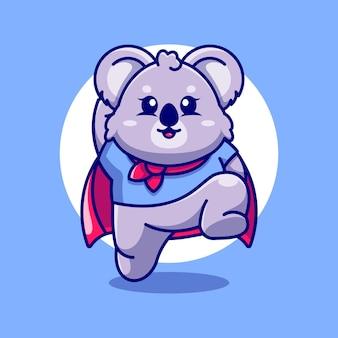 Simpatico cartone animato di salto del koala super eroe