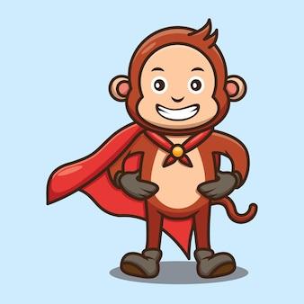 Simpatico disegno di scimmia super eroe