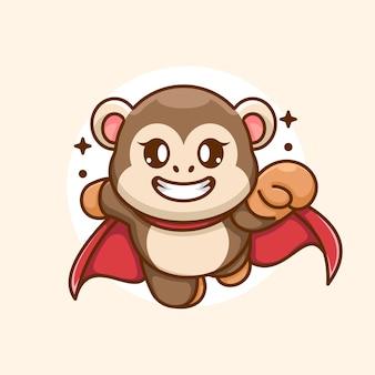 Simpatico cartone animato di volo della scimmia super eroe