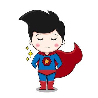 Carattere sveglio del ragazzo del supereroe isolato su priorità bassa bianca.