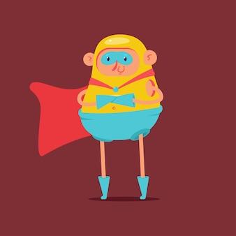 Simpatico personaggio dei cartoni animati di mantello da supereroe isolato su priorità bassa