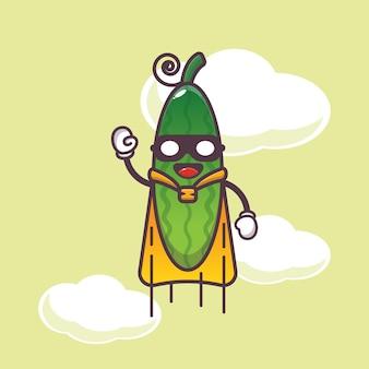 Simpatica illustrazione del personaggio del cetriolo del supereroe