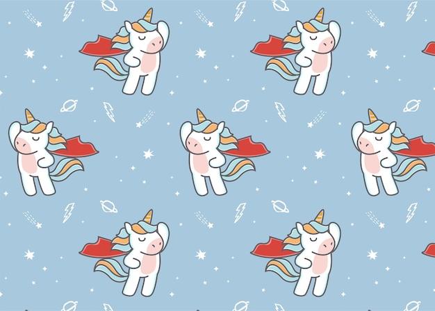 Simpatico unicorno supereroe con motivo a mantello rosso