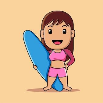 Ragazza carina surf con cartone animato di tavola da surf