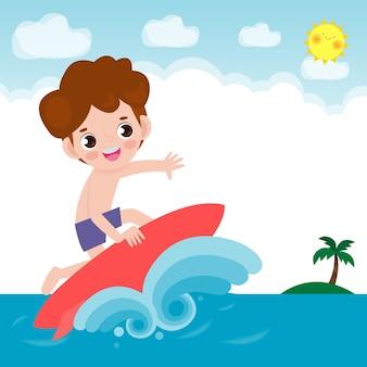 Simpatico personaggio del ragazzo surfista con tavola da surf e cavalcando le onde dell'oceano