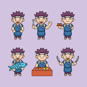 Simpatico design mascotte maestro di sushi