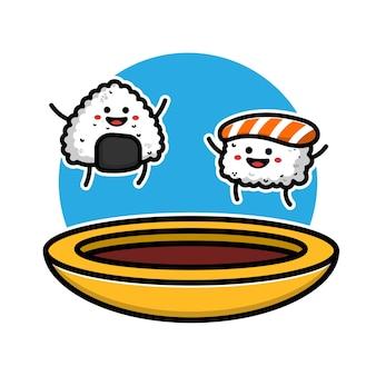 Sushi carino e onigiri con salsa di soia icona del fumetto illustrazione