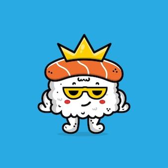 Sushi carino con illustrazione di cartone animato di corona