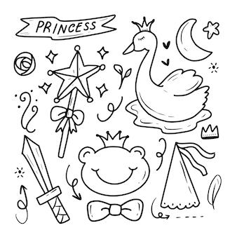 Raccolta sveglia dell'illustrazione del disegno di scarabocchio di fantasia delle fate di principessa del cigno