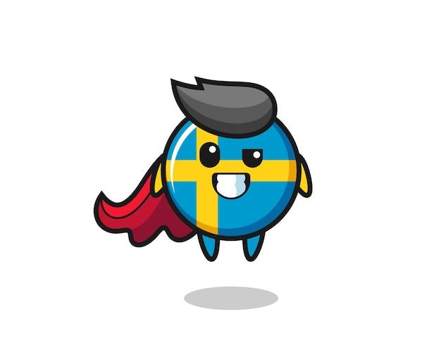 Il simpatico personaggio distintivo della bandiera della svezia come un supereroe volante, design in stile carino per t-shirt, adesivo, elemento logo