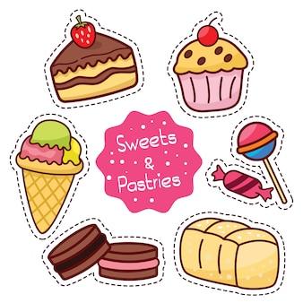 Icona relativa dolci dolci e pasticcini