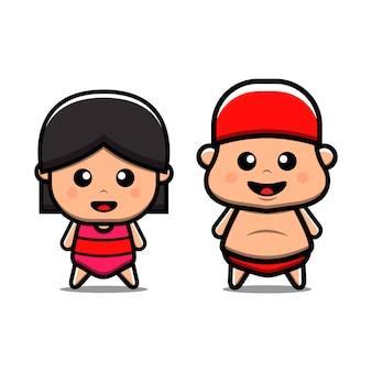 Illustrazione sveglia dell'icona di vettore della ragazza e del ragazzo di nuoto. isolato. stile cartone animato adatto per adesivo, pagina di destinazione web, banner, volantino, mascotte, poster.