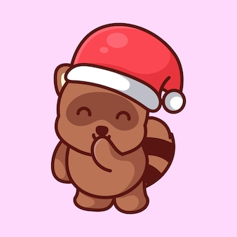 Tanuki carino che indossa un cappello di natale