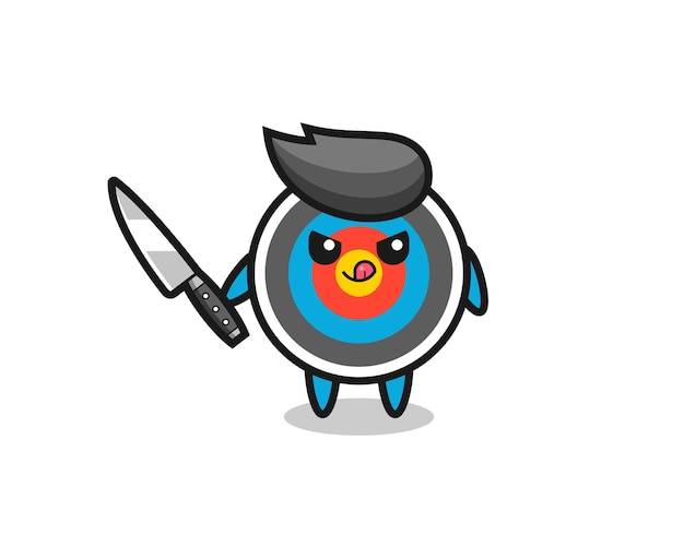 Simpatica mascotte di tiro con l'arco come psicopatico che tiene un coltello, design in stile carino per maglietta, adesivo, elemento logo
