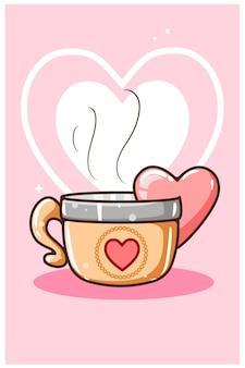 Tè carino con il fumetto del cuore di amore