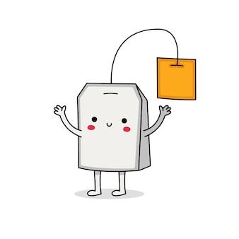 Simpatico personaggio dei cartoni animati di bustina di tè
