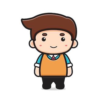 Illustrazione dell'icona di vettore del fumetto carattere insegnante carino. disegno isolato su bianco. stile cartone animato piatto.