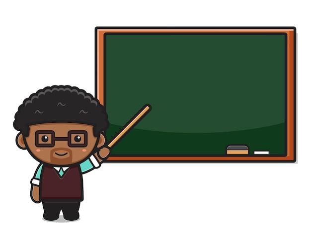 Insegnante sveglio in aula che indica l'illustrazione del fumetto della lavagna. disegno isolato su bianco. stile cartone animato piatto.