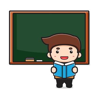 Insegnante sveglio in aula che indica l'illustrazione del fumetto del libro di lettura. disegno isolato su bianco. stile cartone animato piatto.