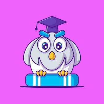 Gufo sveglio dell'insegnante con l'illustrazione del fumetto del libro. animale e educazione piatto stile cartone animato concept