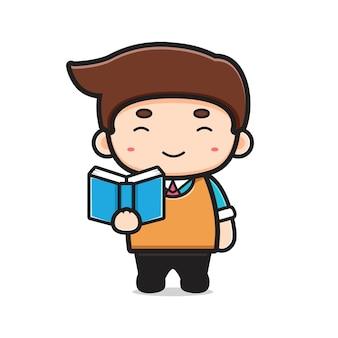 Insegnante carino libro di lettura del fumetto icona vettore illustrazione. disegno isolato su bianco. stile cartone animato piatto.