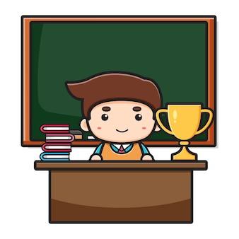 Insegnante sveglio che si siede nell'aula con l'illustrazione dell'icona del fumetto della lavagna. disegno isolato su bianco. stile cartone animato piatto.