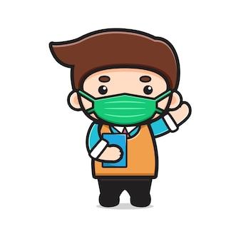 Insegnante carino che indossa la maschera icona vettore del fumetto. disegno isolato su bianco. stile cartone animato piatto. Vettore Premium