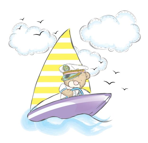 Simpatico orsacchiotto su una barca