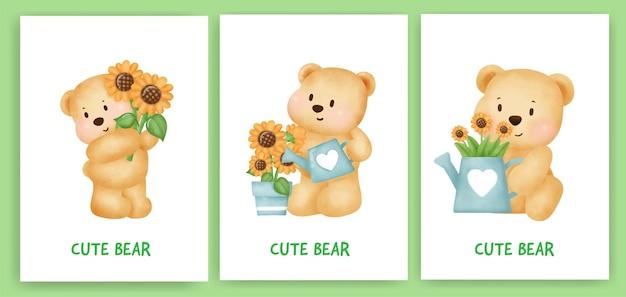 Simpatico biglietto di auguri orsacchiotto impostato in stile colore dell'acqua.