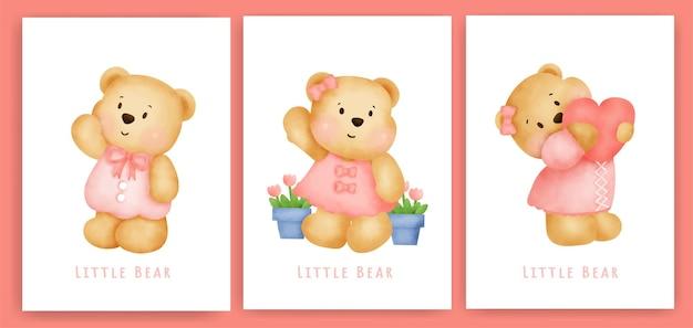 Simpatico biglietto di auguri orsacchiotto impostato in acquerello