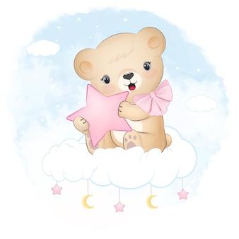 Simpatico orsacchiotto seduto sull'illustrazione blu dell'acquerello della nuvola