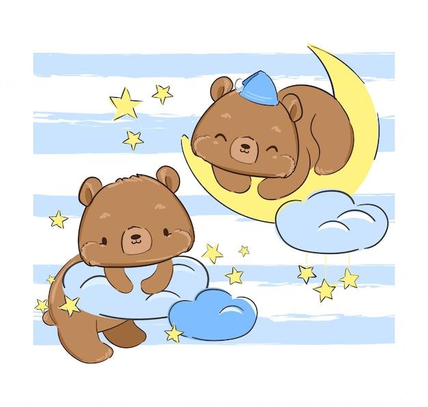 Simpatico orsacchiotto dorme sulla stampa luna per tessuti. .