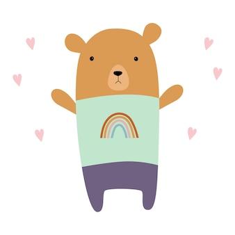 Simpatico orsacchiotto illustrazione piatta vettoriale orso dei cartoni animati orso con un arcobaleno su una maglietta