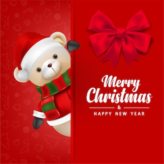 Simpatico orsacchiotto indossa babbo natale su sfondo rosso per buon natale e felice anno nuovo illustrazione della carta