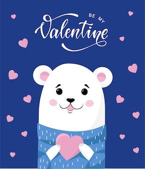 Tenero orsacchiotto con un cuore per san valentino