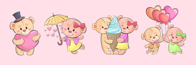 Coppia di orsacchiotti carino isolato sul rosa
