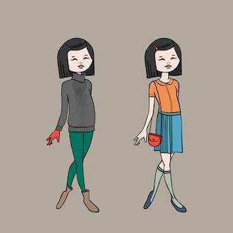 Ragazza teenager sveglia in due abiti di moda. modello di corpo