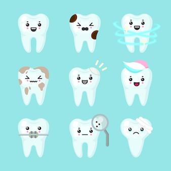 Set di denti carini colorati con emozioni diverse. diverse condizioni dei denti. denti sani e cattivi. illustrazione isolata del dente del fumetto.